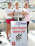 Sammy Myles, Nicola O'Reilly and Karen Bradley who took part in the Cyclathon in aid of Ardee Hospice and Square United football team at Super Valu Ardee. Photo:Colin Bell/pressphotos.ie