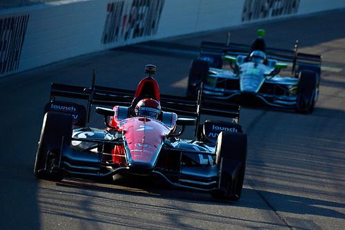 Verizon IndyCar Series<br /> Iowa Corn 300<br /> Iowa Speedway, Newton, IA USA<br /> Saturday 8 July 2017<br /> Mikhail Aleshin, Schmidt Peterson Motorsports Honda, Josef Newgarden, Team Penske Chevrolet<br /> World Copyright: F. Peirce Williams<br /> LAT Images