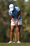 16 October 2016: UNC's Bryana Nguyen sinks a putt. The Final Round of the 2016 Ruth's Chris Tar Heel Invitational NCAA Women's Golf Tournament hosted by the University of North Carolina Tar Heels was held at the UNC Finley Golf Club in Chapel Hill, North Carolina.