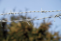 2 strings of barbed wire close up with the blue sky and the trees blurred out.