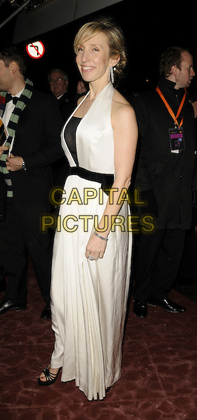 SAM TAYLOR WOOD.The Orange British Academy Film Awards 2009 Soho House Grey Goose After Party at the Grosvenor House Hotel, London, England. .February 8th, 2009 .bafta baftas full length black dress white long maxi sandals halterneck.CAP/CAN.©Can Nguyen/Capital Pictures.