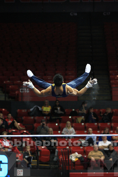 The University of Michigan men's gymnastics team competes in the NCAA individual championships in Lincoln, Neb., on March 29, 2014.