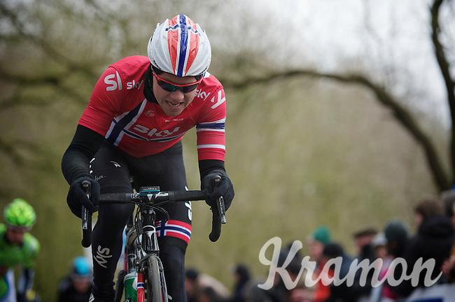Gent-Wevelgem 2013.Edvald Boasson Hagen (NOR) biting up the Kemmelberg.