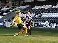 Liam Rowan tackles Anton Brady in the St Mirren v Falkirk Clydesdale Bank Scottish Premier League Under 20 match played at St Mirren Park, Paisley on 30.4.13. ..