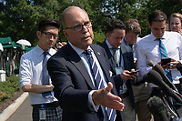 Director of the National Economic Council Larry Kudlow speaks to the press following a television interview at the White House in Washington D.C., U.S. on July 26, 2019. Photo Credit: Stefani Reynolds/CNP/AdMedia