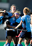 25 October 2009: Columbia University Lion midfielder Julia Garrison (9), a Junior from Virginia Beach, VA, celebrates scoring the first and only goal of the game against the University of Vermont Catamounts at Moulton Winder Field in Burlington, Vermont. The Lions shut out the Catamounts 1-0. Mandatory Credit: Ed Wolfstein Photo