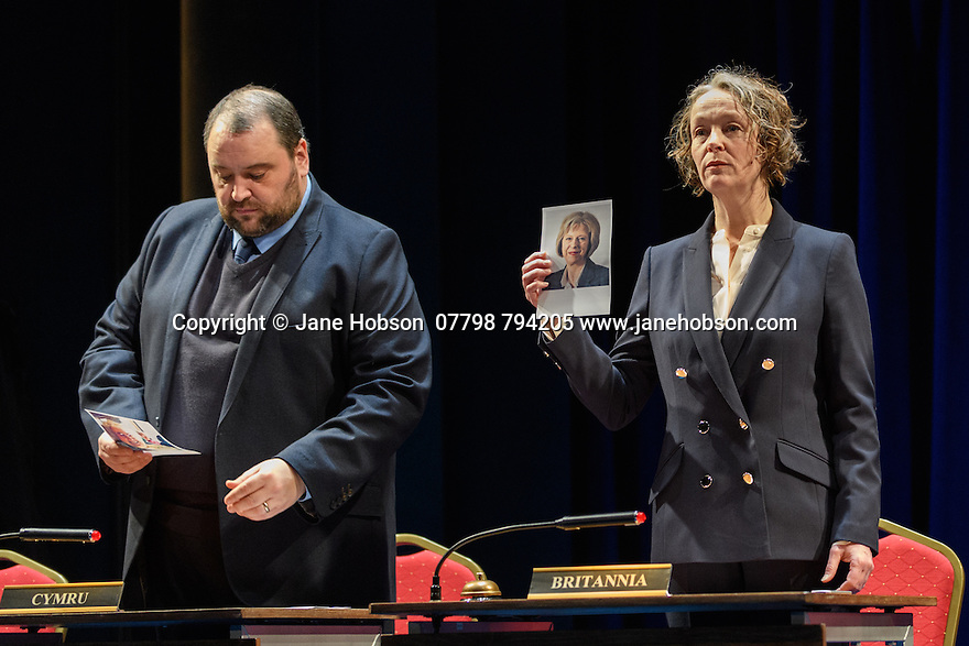 "London, UK. 02.03.2017. The National Theatre presents ""My Country; a work in progress"", in the words of people across the UK and Carol Ann Duffy, in the Dorfman. Rufus Norris directs. Design is by Katrina Lindsay, lighting design by Paul Knott. Picture shows:  Christian Patterson, Penny Layden. Photograph © Jane Hobson."