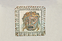 Roman floor mosaic of a tragic actors mask from the  Villa de Ruffinella, Tusculum. End of 1st and beginning of 2nd century AD. National Roman Museum, Rome, Italy