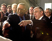 British Foreign Secretary Jack Straw introduces United States Secretary of State Colin Powell to a traveling journalist prior to the Blair-Bush press conference at Camp David, MD on March 27, 2003 following their talks on the progress of the Iraq War.<br /> Credit: Ron Sachs - Pool via CNP