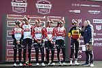 Lotto-Soudal Ladies at sign on before the start of the Strade Bianche Women Elite 2019 running 133km from Siena to Siena, held over the white gravel roads of Tuscany, Italy. 9th March 2019.<br /> Picture: LaPresse/Fabio Ferrari | Cyclefile<br /> <br /> <br /> All photos usage must carry mandatory copyright credit (© Cyclefile | LaPresse/Fabio Ferrari)