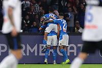 Arkadiusz Milik of Napoli celebrates with team mates after scoring a goal<br /> Napoli 30-10-2019 Stadio San Paolo <br /> Football Serie A 2019/2020 <br /> SSC Napoli - Atalanta BC<br /> Photo Cesare Purini / Insidefoto