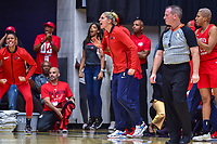 Washington, DC - August 31, 2018: The Washington Mystics bench is fired up after the Washington Mystics make a run late in the 4th quarter of the semi finals playoff game between Atlanta Dream and Wasington Mystics at the Charles Smith Center at George Washington University in Washington, DC. (Photo by Phil Peters/Media Images International)