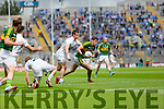 Paul Geaney, Kerry in action against Emmet Bolton,  Kildare in the All Ireland Quarter Final at Croke Park on Sunday.