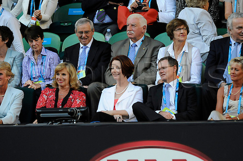 27.01.2012 Melbourne, Australia. Australia's Prime Minister Julia Gillard attends the match on Day 12 of the men's quarter final match. Andy Murray (GBR) V Novak Djokovic (SRB). Played on Rod Laver Arena at the Australian Open.