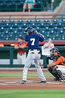 AZL Brewers shortstop Yeison Coca (7) at bat against the AZL Giants on August 15, 2017 at Scottsdale Stadium in Scottsdale, Arizona. AZL Giants defeated the AZL Brewers 4-3. (Zachary Lucy/Four Seam Images)