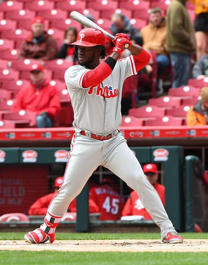 Philadelphia Phillies Odubel Herrera (37) during a game against the Cincinnati Reds on April 6, 2017 at Great American Ballpark in Cincinnati, OH. The Reds beat the Phillies 4-7.