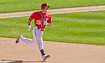 27 April 2014: Washington Nationals outfielder Nate McLouth rounds the bases after hitting a solo home run in the bottom of the 8th inning against the San Diego Padres at Nationals Park in Washington, DC. The Padres defeated the Nationals 4-2 to to split their 4-game series. Mandatory Credit: Ed Wolfstein Photo *** RAW (NEF) Image File Available ***