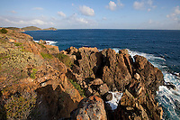 Scenic views and rocky cliffs along the Tektite trail near Lameshur Bay<br /> St John<br /> U.S. Virgin Islands