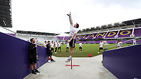 Orlando, Florida - Friday January 12, 2018: Wyatt Omsberg during the vertical leap test. The 2018 adidas MLS Player Combine Skills Testing was held Orlando City Stadium.