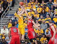 David Kravish of California shoots the ball during the game against Arizona at Haas Pavilion in Berkeley, California on February 1st, 2014.  California Golden Bears defeated Arizona Wildcats, 60-58.