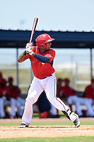 GCL Nationals third baseman Younaifred Aguero (1) at bat during a game against the GCL Marlins on June 28, 2014 at the Carl Barger Training Complex in Viera, Florida.  GCL Nationals defeated the GCL Marlins 5-0.  (Mike Janes/Four Seam Images)