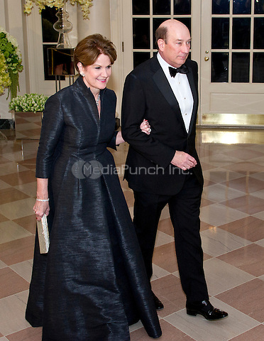 Marillyn Hewson, Chairman, President, &amp; Chief Executive Officer, Lockheed Martin and James Hewson arrive for the State Dinner in honor of Prime Minister Trudeau and Mrs. Sophie Gr&Egrave;goire Trudeau of Canada at the White House in Washington, DC on Thursday, March 10, 2016.<br /> Credit: Ron Sachs / Pool via CNP/MediaPunch