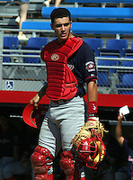 July 13, 2003:  Catcher Matt Pagnozzi of the New Jersey Cardinals, Class-A affiliate of the St. Louis Cardinals, during a NY-Penn League game at Russell Diethrick Park in Jamestown, NY.  Photo by:  Mike Janes/Four Seam Images