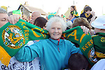 27-9-2014: 80 years old Kate Mary Cremin welcomes home her heroes at the Kerry Team homecoming in Rathmore, County Kerry last evening.<br /> Picture by Don MacMonagle