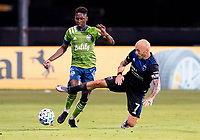 10th July 2020, Orlando, Florida, USA;  San Jose Earthquakes midfielder Magnus Eriksson (7) During the MLS Is Back Tournament between the Seattle Sounders v San Jose Earthquakes on July 10, 2020 at the ESPN Wide World of Sports, Lake Buena Vista FL.