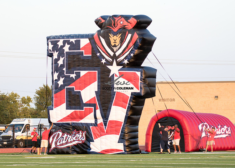 The East View Patriots inflatable before the start of a high school football game between the Rouse Raiders and the East View Patriots at A.C. Bible Stadium in Leander, Texas, on Friday, September 15, 2017.