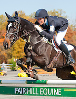 Pirate, with rider Meghan O'Donoghue (USA), competes during the Stadium Jumping test during the Fair Hill International at Fair Hill Natural Resources Area in Fair Hill, Maryland on October 21, 2012.