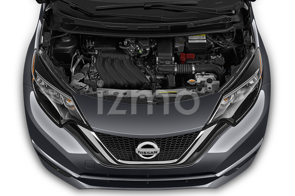 Car stock 2019 Nissan Versa-Note SV 5 Door Hatchback engine high angle detail view
