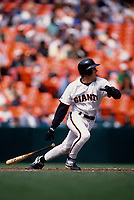 SAN FRANCISCO, CA:  Bill Mueller of the San Francisco Giants bats during a game at Candlestick Park in San Francisco, California in 1996. (Photo by Brad Mangin)