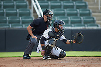 Kannapolis Intimidators catcher Carlos Perez (8) sets a target as home plate umpire Kelvis Velez looks on during the game against the West Virginia Power at Kannapolis Intimidators Stadium on July 25, 2018 in Kannapolis, North Carolina. The Intimidators defeated the Power 6-2 in 8 innings in game one of a double-header. (Brian Westerholt/Four Seam Images)