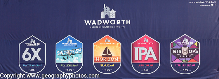 Close up of advertising sign for Wadworth ales, Devizes, Wiltshire, England, UK