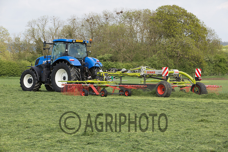 Tractor and grass rake rowing grass for silage.Picture Tim Scrivener 07850 303986.tim@agriphoto.com.?.covering agriculture in the UK?.