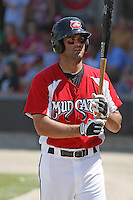 Mike Costanzo #4 of the Carolina Mudcats on deck during a game against the West Tenn Diamond Jaxx on May 30, 2010 in Zebulon, NC.