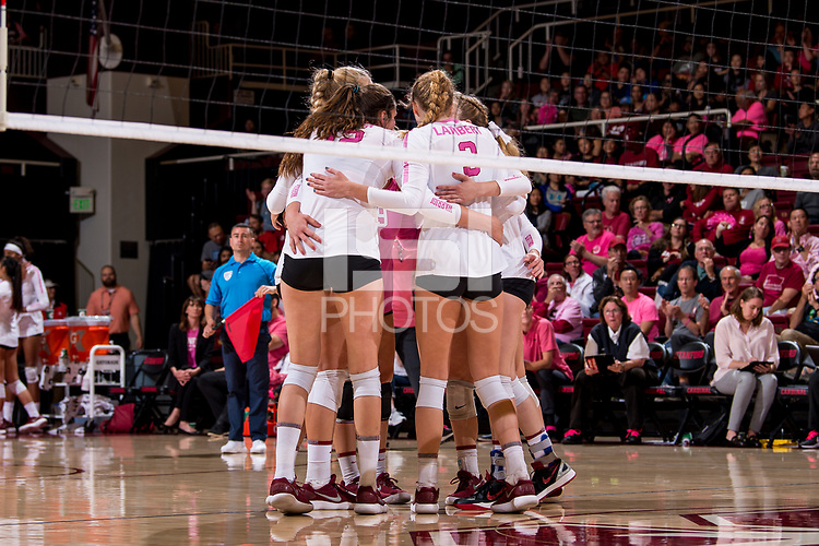 STANFORD, CA -- October 13, 2018. The Stanford Cardinal women's volleyball team defeats the Washington Huskies 3-0 at Maples Pavilion.