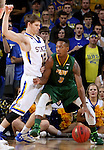 SIOUX FALLS, SD - MARCH 8:  Carlin Dupree #3 from North Dakota State tries to back down Keaton Moffitt #12 from South Dakota State during the 2016 Summit League Championship Game Tuesday at the Denny Sanford Premier Center in Sioux Falls, S.D. (Photo by Dave Eggen/Inertia)