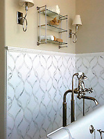 Sophie, a stone waterjet mosaic shown in Calacatta Tia polished and Thassos honed, is part of the Silk Road Collection by Sara Baldwin for New Ravenna Mosaics.