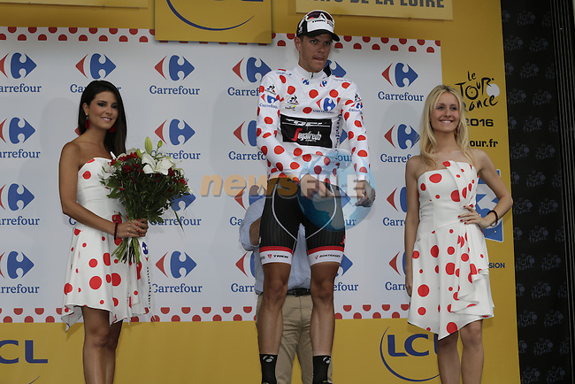 Polka Dot Jersey wearer Jasper Stuyven (BEL) Trek Segafredo retains the Mountains Jersey at the end of Stage 3 of the 2016 Tour de France, running 223.5km from Granville to Angers, France . 4th July 2016.<br /> Picture: Eoin Clarke | Newsfile<br /> <br /> <br /> All photos usage must carry mandatory copyright credit (&copy; Newsfile | Eoin Clarke)