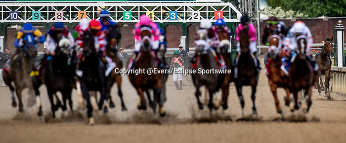 LOUISVILLE, KENTUCKY - MAY 03: Manny Franco stands up after his mount Positive Spirit clipped heels and fell in the Kentucky Oaks at Churchill Downs in Louisville, Kentucky on May 03, 2019. Both rider and horse were un injured. Evers/Eclipse Sportswire/CSM