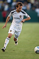 Forward Mike Magee (18) prepares for a crossing pass during the second half of a friendly between LA Galaxy and Boca Juniors. The game was held at the Home Depot Center in Carson, CA on May 23, 2010. The final score was LA Galaxy 1, Boca Juniors 0.