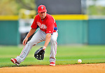 9 March 2012: Philadelphia Phillies infielder Kevin Frandsen warms up prior to a Spring Training game against the Detroit Tigers at Joker Marchant Stadium in Lakeland, Florida. The Phillies defeated the Tigers 7-5 in Grapefruit League action. Mandatory Credit: Ed Wolfstein Photo