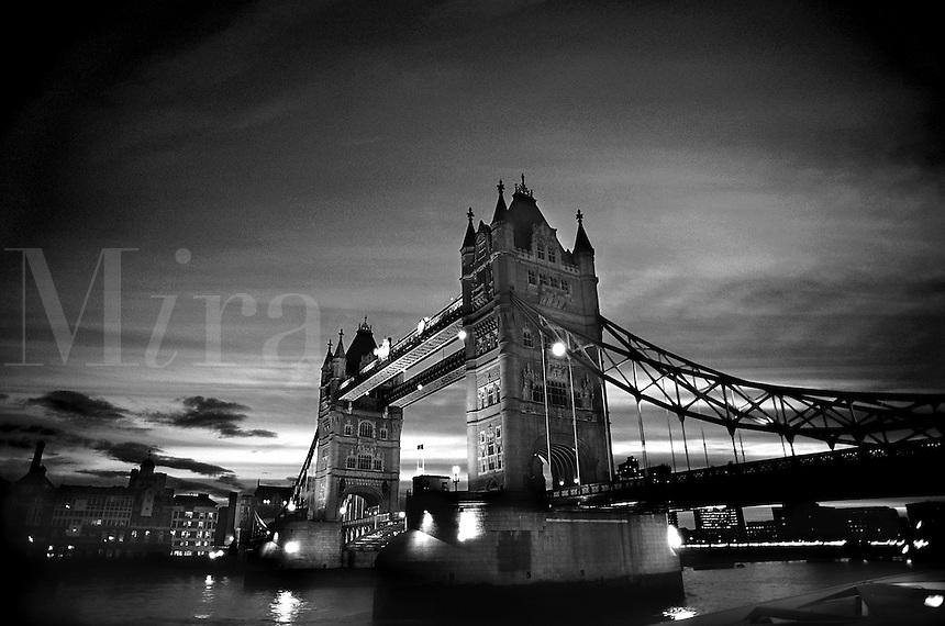 Tower Bridge at dusk. London, England. London, England.