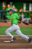 Joel Booker (11) of the Great Falls Voyagers follows through on his swing against the Ogden Raptors during the Pioneer League game at Lindquist Field on August 18, 2016 in Ogden, Utah. Ogden defeated Great Falls 10-6. (Stephen Smith/Four Seam Images)