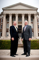 Chairman, President, and CEO of Lyco Holdings Incorporated Bobby Lyle (cq) and Assistant Dean of External Relations and Executive Director of the Cox Alumni Association Kevin Knox (cq) stand in front of Dallas Hall on the SMU campus in Dallas, Texas, Tuesday, March 8, 2011. SMU's business mentoring program for graduate students has tried to be.duplicated at other universities, but none have been successful. The school credits an involved business community in Dallas...Photo by Matt Nager