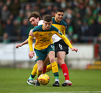 9th February 2020; Broadwood Stadium, Cumbernauld, North Lanarkshire, Scotland; Scottish Cup Football, Clyde versus Celtic; Raymond Grant of Clyde and Ryan Christie of Celtic challenge for the ball