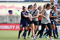 Cary, NC - Sunday October 08, 2017: Debinha is helped off the field by trainer Virginia Todd after suffering a dislocated elbow during a National Women's Soccer League (NWSL) semifinals match between the North Carolina Courage and the Chicago Red Stars at Sahlen's Stadium at WakeMed Soccer Park. The North Carolina Courage won the game 1-0.