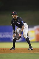 Hickory Crawdads first baseman Ti'Quan Forbes (10) on defense against the Kannapolis Intimidators in game two of a double-header at Kannapolis Intimidators Stadium on May 19, 2017 in Kannapolis, North Carolina.  The Intimidators defeated the Crawdads 9-1.  (Brian Westerholt/Four Seam Images)